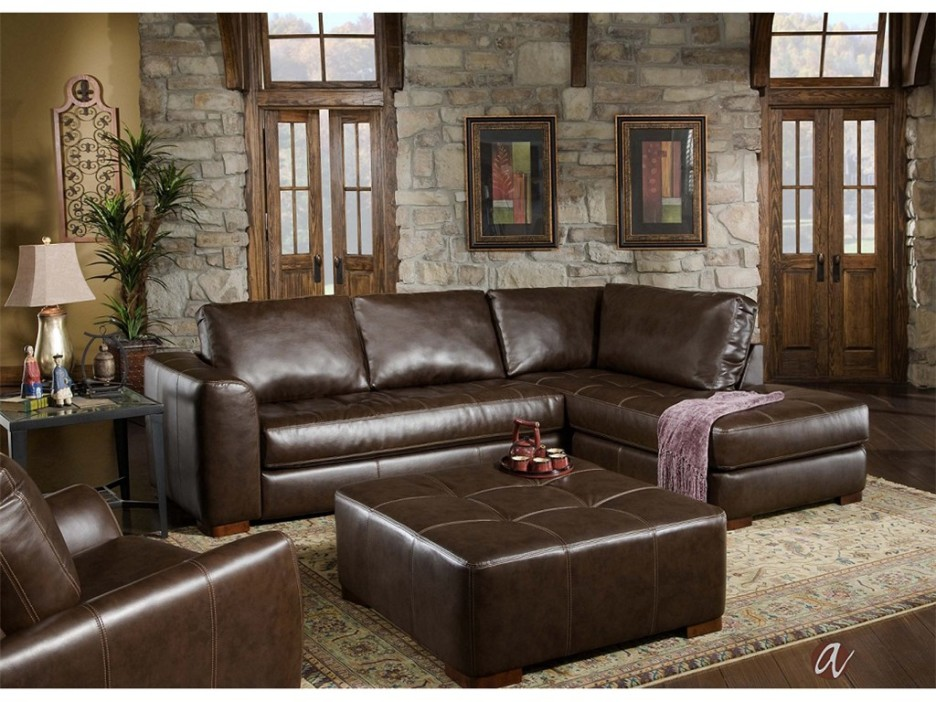 Beautiful L Shaped Chaise Sofa Living Room Traditional Living Room Design With Dark Brown Leather