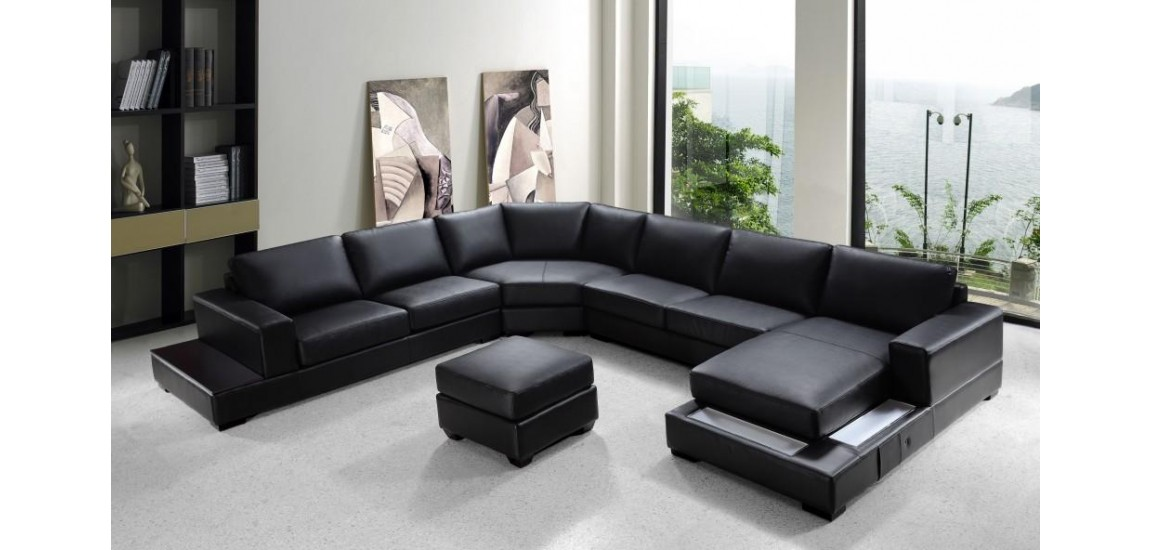 Beautiful Large Leather Sectional Couch Ritz U Shape Large Sectional Sofa In Black Leather