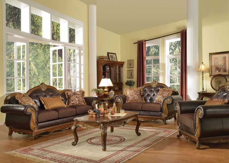 Beautiful Leather And Fabric Living Room Sets Von Furniture Dorothea Formal Living Room Set