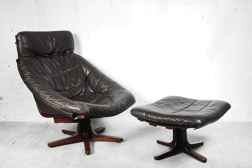 Beautiful Leather Chair And Ottoman Scandinavian Swivel Leather Chair With Ottoman 1960s For Sale At