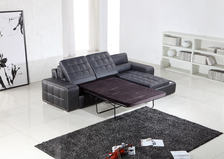 Beautiful Leather Pull Out Sofa Bed Modern Black Leather Sectional W Pull Out Sofa Bed
