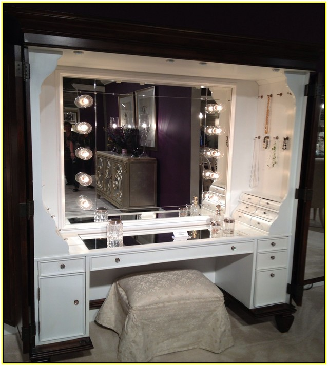 Beautiful Makeup Table And Mirror Cool Dressing Table With Lights Around Mirror 98 With Additional