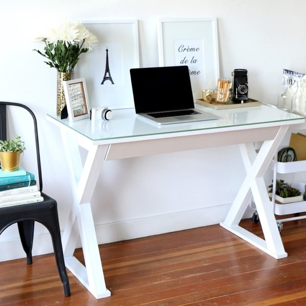 Beautiful Metal Computer Desk 48 Inch White Glass Metal Computer Desk Free Shipping Today
