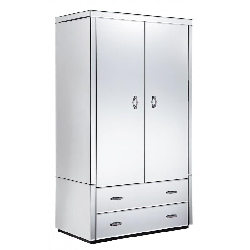Beautiful Mirrored Wardrobe With Drawers Clear Mirrored Wardrobe 2 Door 2 Drawer Buy Online At Zurleys