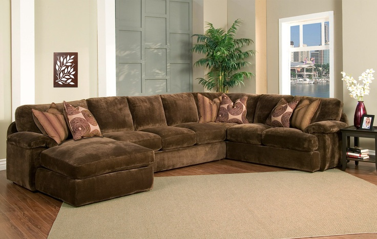 Beautiful Oversized Sectionals With Chaise Champion Brown Fabric 4 Peice Oversized Chaise Sectional Set