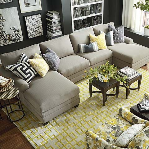 Beautiful Sectional Sofa With 2 Chaises Hgtv Home Design Studio Cu2 Double Chaise Sectional Bassett