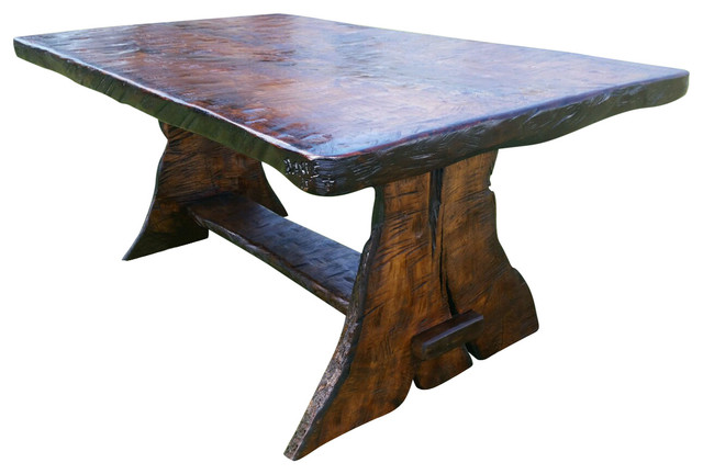 Beautiful Trestle Dining Table Griffith Rustic Black Walnut Trestle Dining Table Rustic