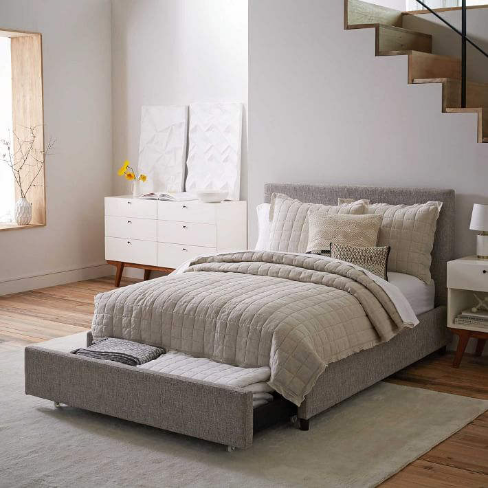 Beautiful Upholstered Bed Frame With Drawers Contemporary Upholstered Storage Bed Deco Weave West Elm