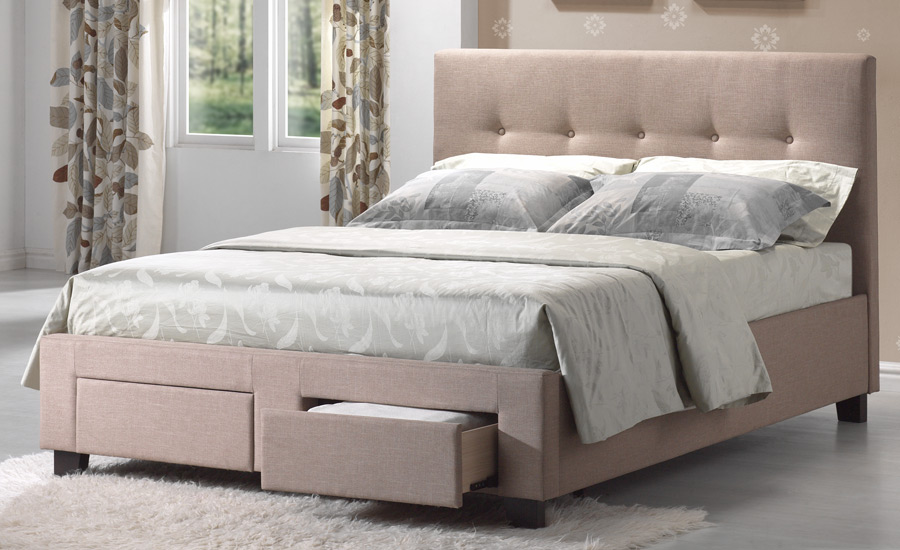 Beautiful Upholstered Bed Frame With Drawers Upholstered Bed Frame With Drawers And Cream Bed Frame And Far Rug