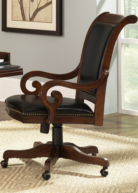 Beautiful Upholstered Office Chair Louis Jr Executive Upholstered Office Chair In Deep Cherry Finish