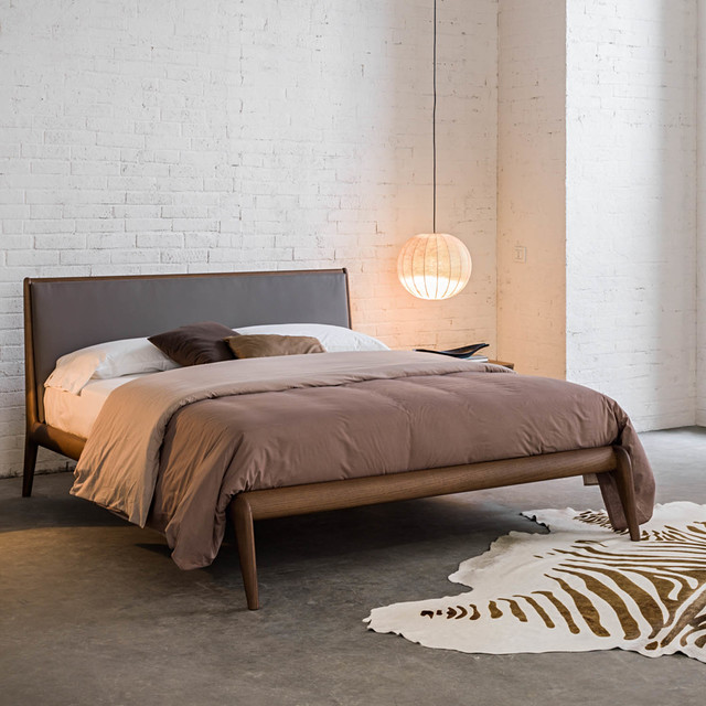 Beautiful Upholstered Wood Bed Frame Allyson Contemporary Italian Wooden Bed With Upholstered