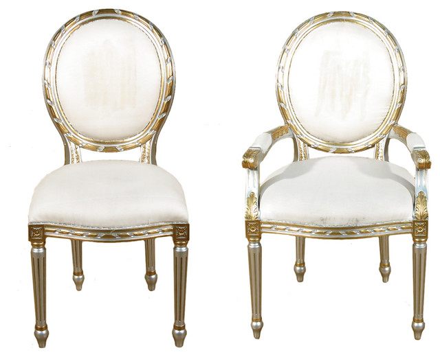 Beautiful Victorian Dining Chairs Set Of 10 Silver Gold Balloon Back White Muslin Dining Chairs