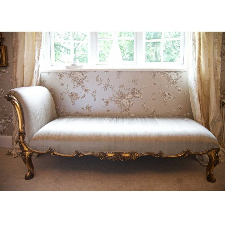 Beautiful White And Gold Chaise Lounge Furniture Elegant White Cotton Padded Chaise Lounge Chairs For