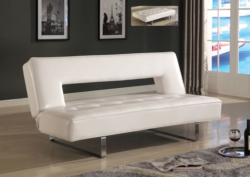 Beautiful White Leather Futon Sofa White Leather Futon Roselawnlutheran
