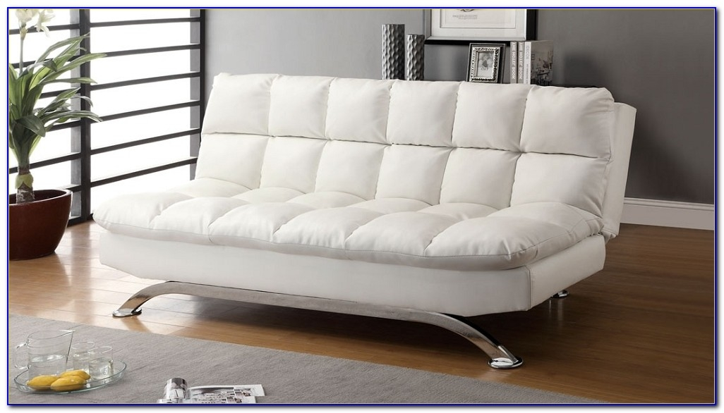 Beautiful White Leather Futon Sofa White Leatherette Futon Sofa Bed With Chrome Metal Legs Futons