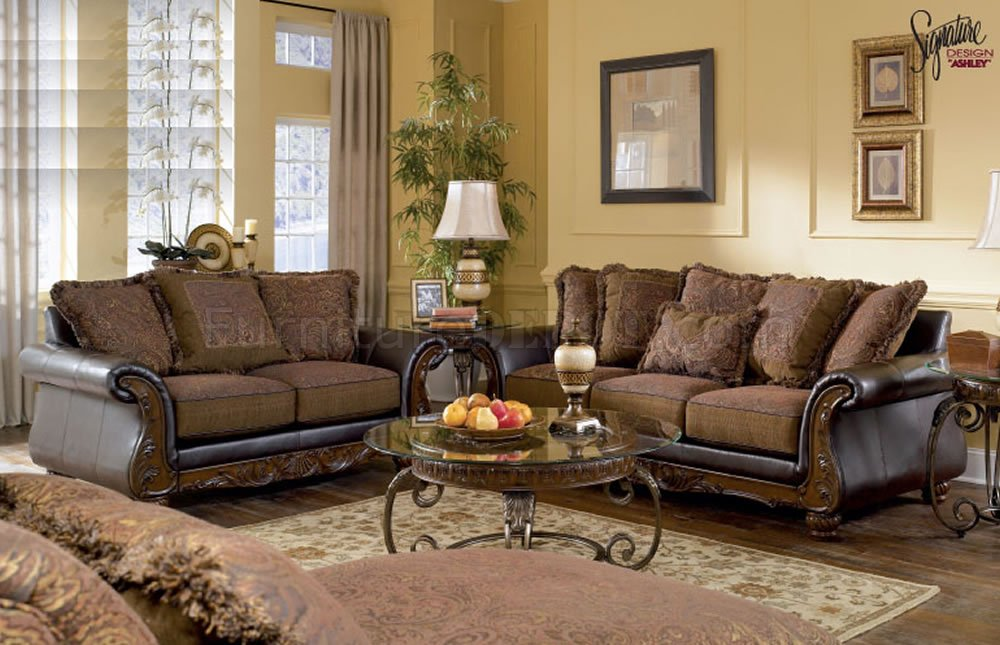 Best Ashley Brown Leather Sofa Fantastic Leather Sofa And Loveseat Set Walnut Fabric And Faux