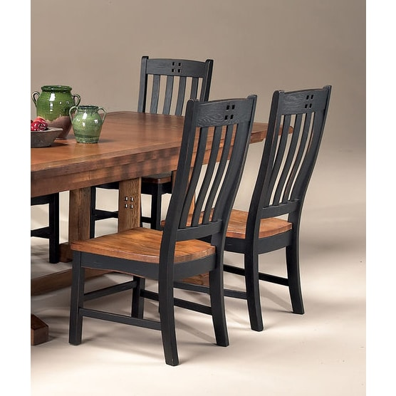 Best Black And Brown Dining Chairs Shop Rustic Mission Black And Rustic Curved Slat Back Dining Chair
