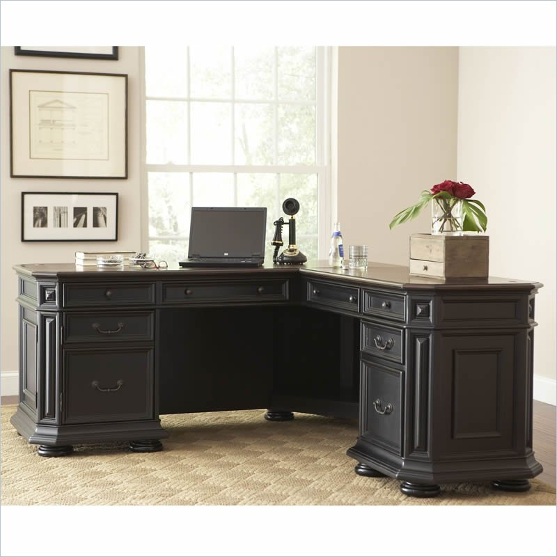 Best Black L Shaped Desk Riverside Allegro L Desk And Return 44728 Riverside Furniture
