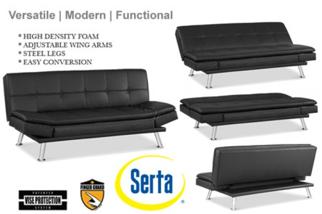 Best Black Leather Futon Couch Black Leather Futon Lounger Niles Serta Euro Lounger The Futon Shop
