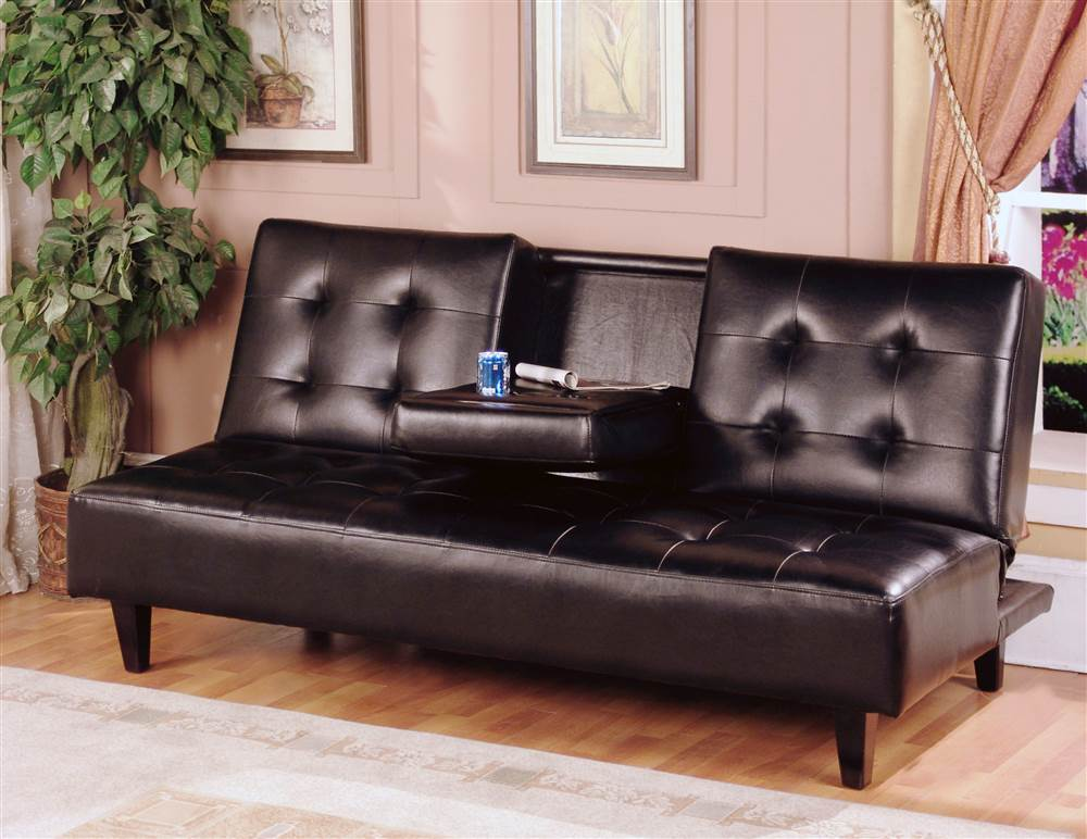 Best Black Leather Futon Couch Verano Futon Sofa Bed In Espresso Walmart