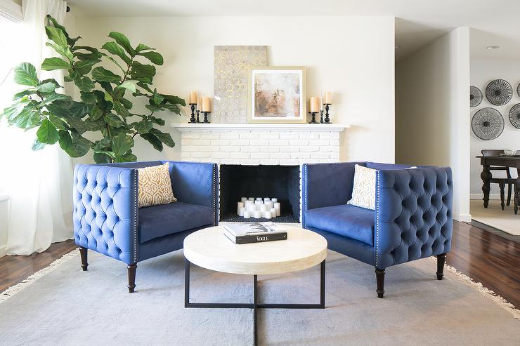 Best Blue Accent Chairs For Living Room Blue Tufted Accent Chairs With White Brick Fireplace