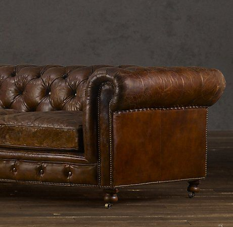 Best Brown Leather Couch With Studs Another Good Example Of Tufting Rolled Arms And Brass Studs