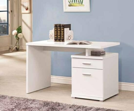 Best Computer Desk And File Cabinet White Finish Wood Small