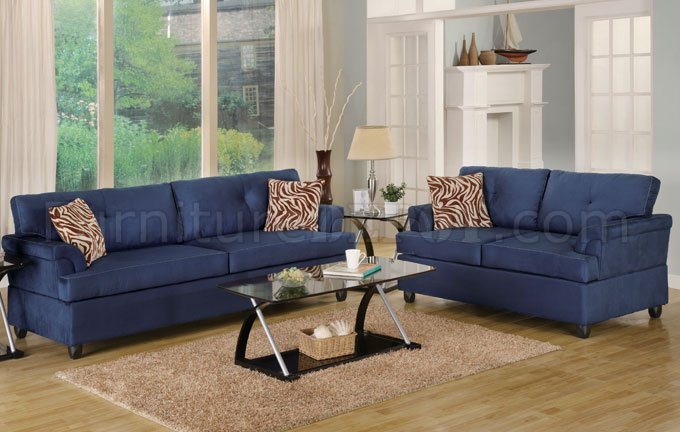 Best Contemporary Sofa And Loveseat Navy Microfiber Plush Contemporary Sofa Loveseat Set