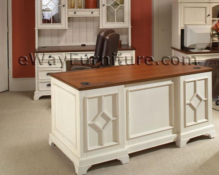 Best Diy Executive Desk White Office Furniture Collections Distressed White 66 Inch