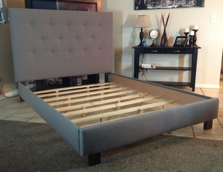 Best Full Size Upholstered Bed Frame Queen Or Full Size Headboard And Bed Frame Gray Linen Upholstered