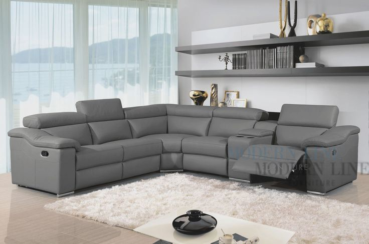 Best Gray Sectional Sofa With Recliner Interesting Grey Leather Sectional Sofa With Gray Leather