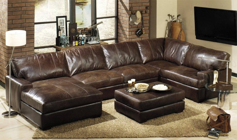 Best Large Leather Sectional With Chaise Furniture Oversized Leather Sectional Sofa How To Take A