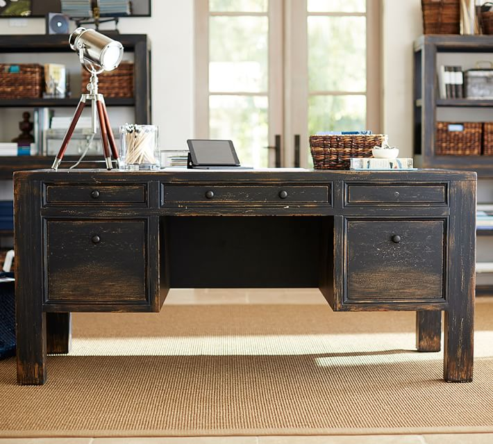 Best Large Wooden Office Desk Dawson Desk Pottery Barn