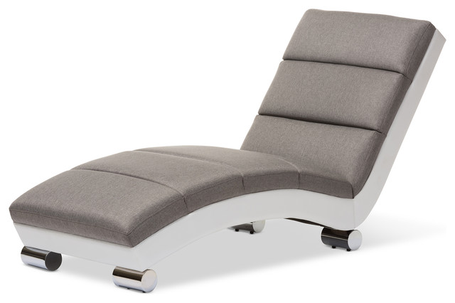 Best Leather Chaise Lounge Chairs Indoors Percy Upholstered Chaise Lounge Gray Fabric And White Faux