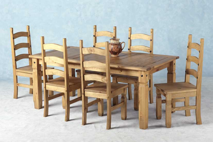 Best Pine Dining Chairs Corona Mexican Pine Dining Set 70 Inch Dining Table 6 Chairs