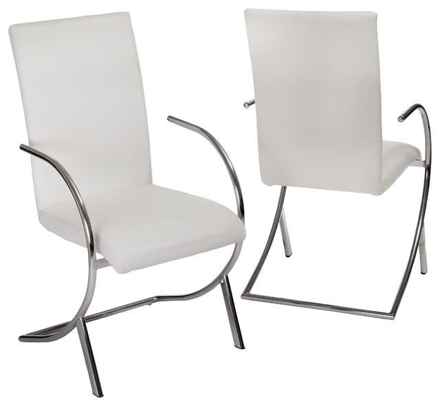 Best White Leather Dining Chairs With Arms Prima Leather Side Chairs Set Of 2 Contemporary Dining Chairs