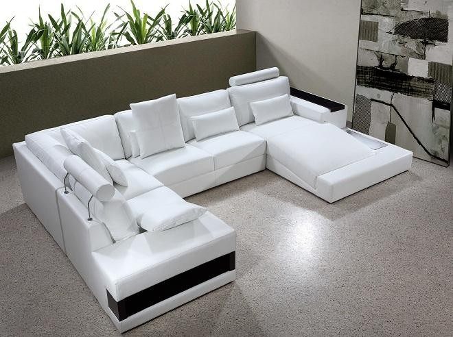Best White Leather Sectional Sofa Vig Furniture Diamond Modern White Leather Sectional Sofa With Lights