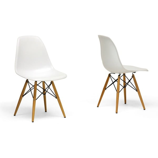 Best Wood And White Dining Chairs Mid Century White Plastic 2 Piece Dining Chair Set Baxton