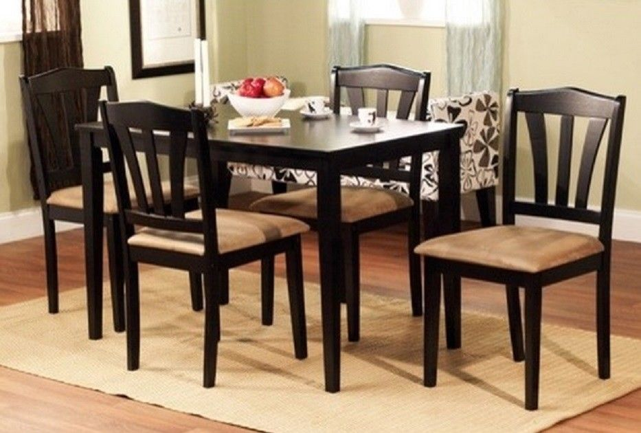 Brilliant 4 Kitchen Chairs Costway 5 Piece Kitchen Dining Set Glass Metal Table And 4 Chairs