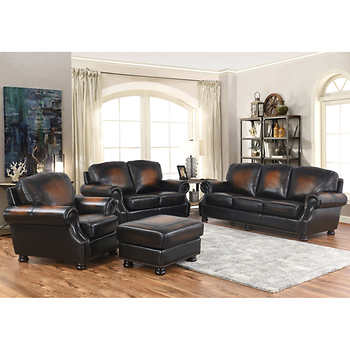 Brilliant 4 Piece Leather Living Room Set Costo New Instant Savings On Home Furnishings Accessories