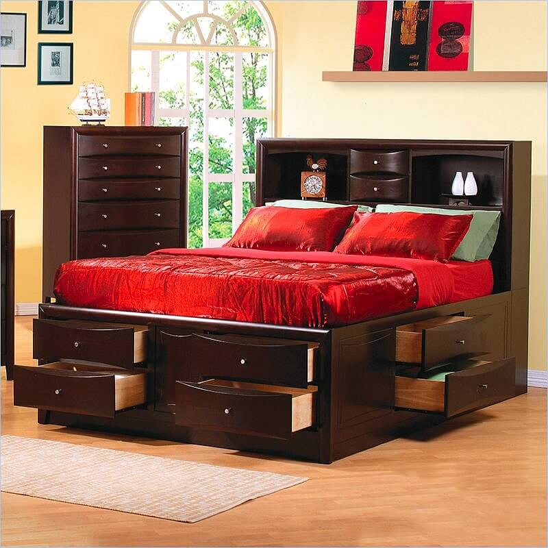 Brilliant Bed With Side Headboard 25 Incredible Queen Sized Beds With Storage Drawers Underneath