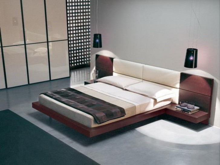 Brilliant Bed With Side Headboard Brown Wooden Flat Platform Bed With White Fabric Upholstered