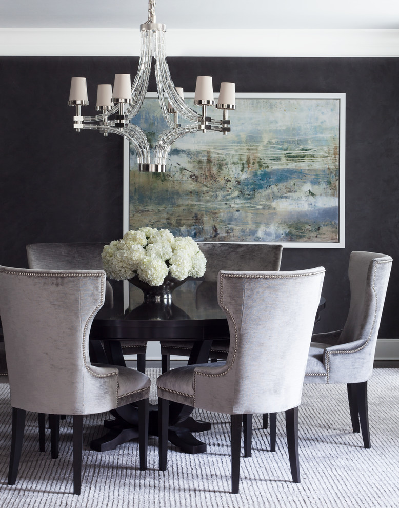 Brilliant Black And Grey Dining Chairs Transitional Dining Chairs Dining Room Transitional With Abstract