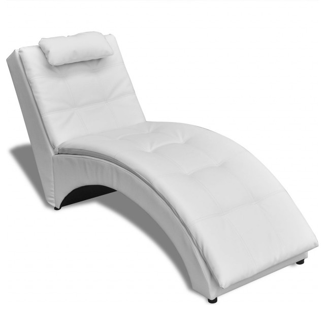 Brilliant Black And White Chaise Vidaxl Chaise Longue With Pillow Artificial Leather Black