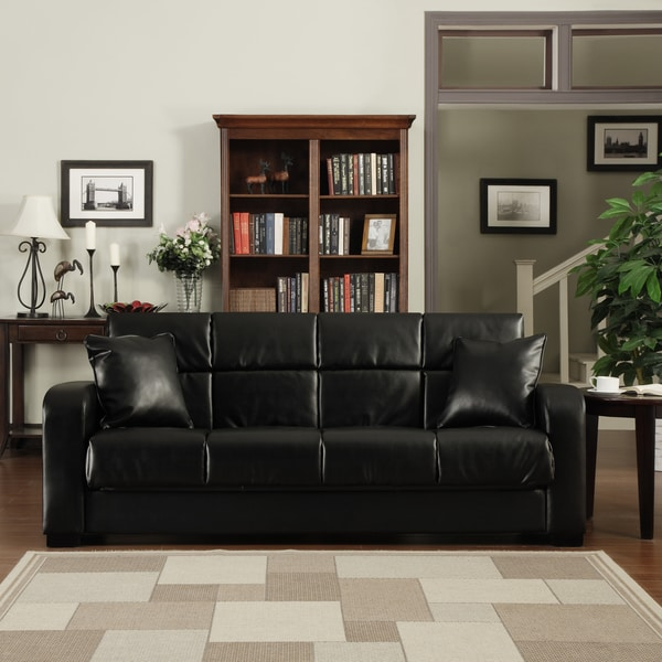 Brilliant Black Leather Futon Couch Shop Handy Living Turco Convert A Couch Black Renu Leather Futon