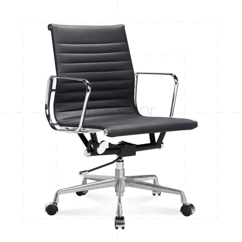 Brilliant Black Leather Office Chair Eames Black Leather Office Chair Modecor Furnitures