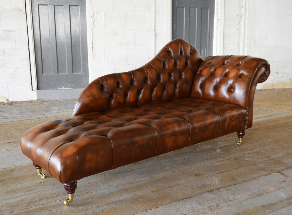 Brilliant Brown Leather Chaise Longue Antique Leather Chesterfield Chaise Lounge Abode Sofas