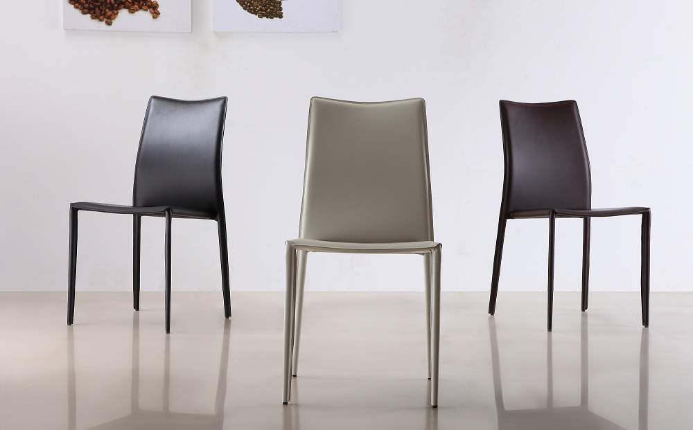 Brilliant Brown Leather Kitchen Chairs Marengo Leather Contemporary Dining Chair In Black Brown Or White