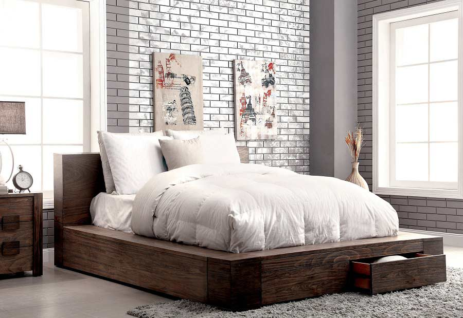 Brilliant California King Low Platform Bed Storage Bed In Rustic Finish Fa29 Contemporary Bedroom