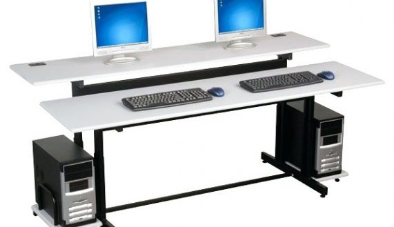 Brilliant Computer Desk For 2 Monitors Surface Multiple Monitor Computer Desk Pertaining To Incredible